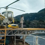 Mirka Stratigopoulou et l'hélico au bord de la Calypso