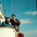 Christos Clairis et la capitaine Bougaran à bord de la Calypso